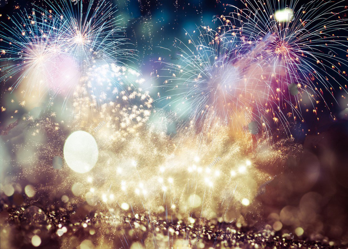 Bokeh Wallpapers High Quality: Colorful Fireworks New Year Gold Bokeh Backgrounds Vinyl