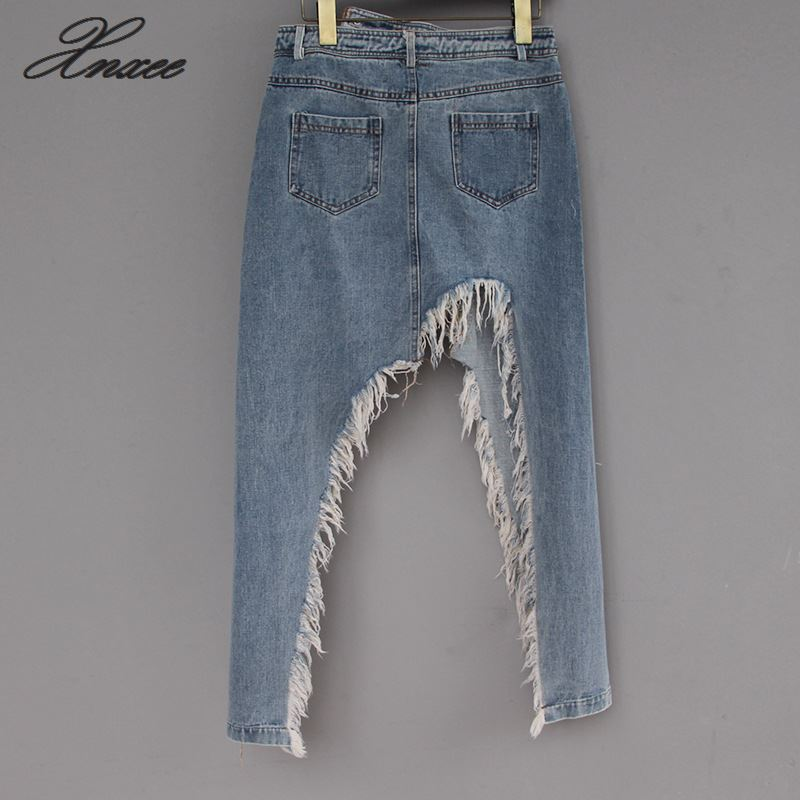2019 summer new style in the long section of the irregular split fork raw edge worn denim skirt female in Skirts from Women 39 s Clothing