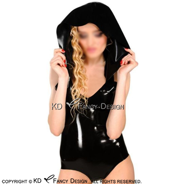 Body sans manches en Latex noir Sexy avec capuche en caoutchouc LTY-0220