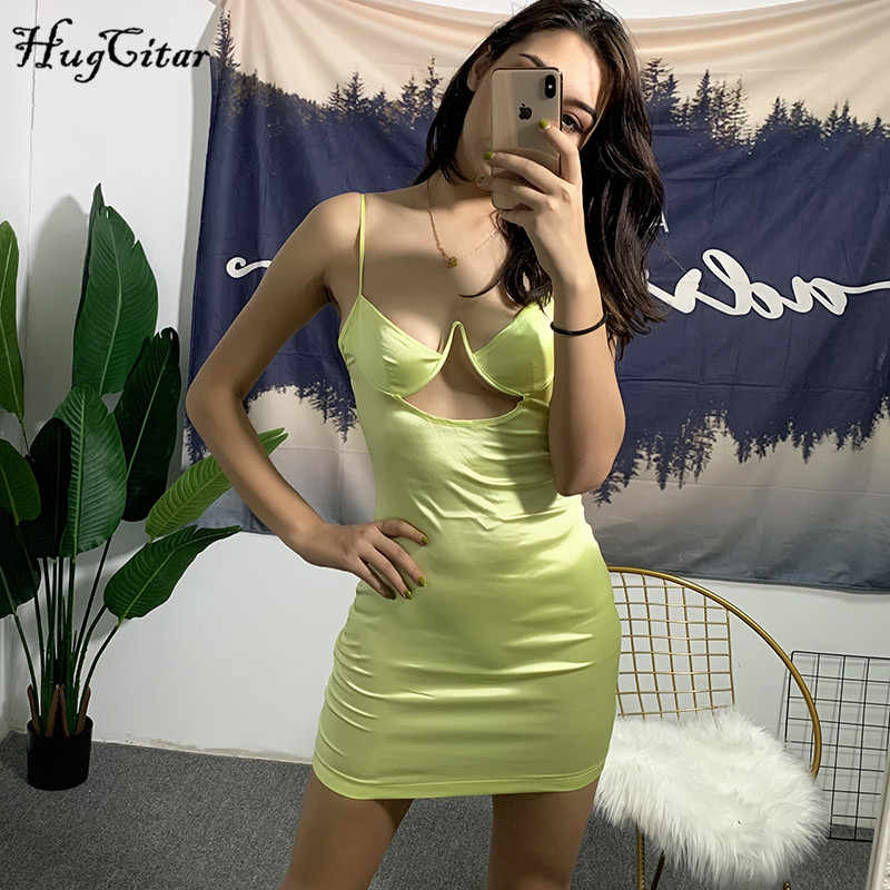 Hugcitar satin spaghettibandjes V-hals hollow out sexy hoge taille slanke effen 2019 lente vrouwen nieuwe mode feestjurk