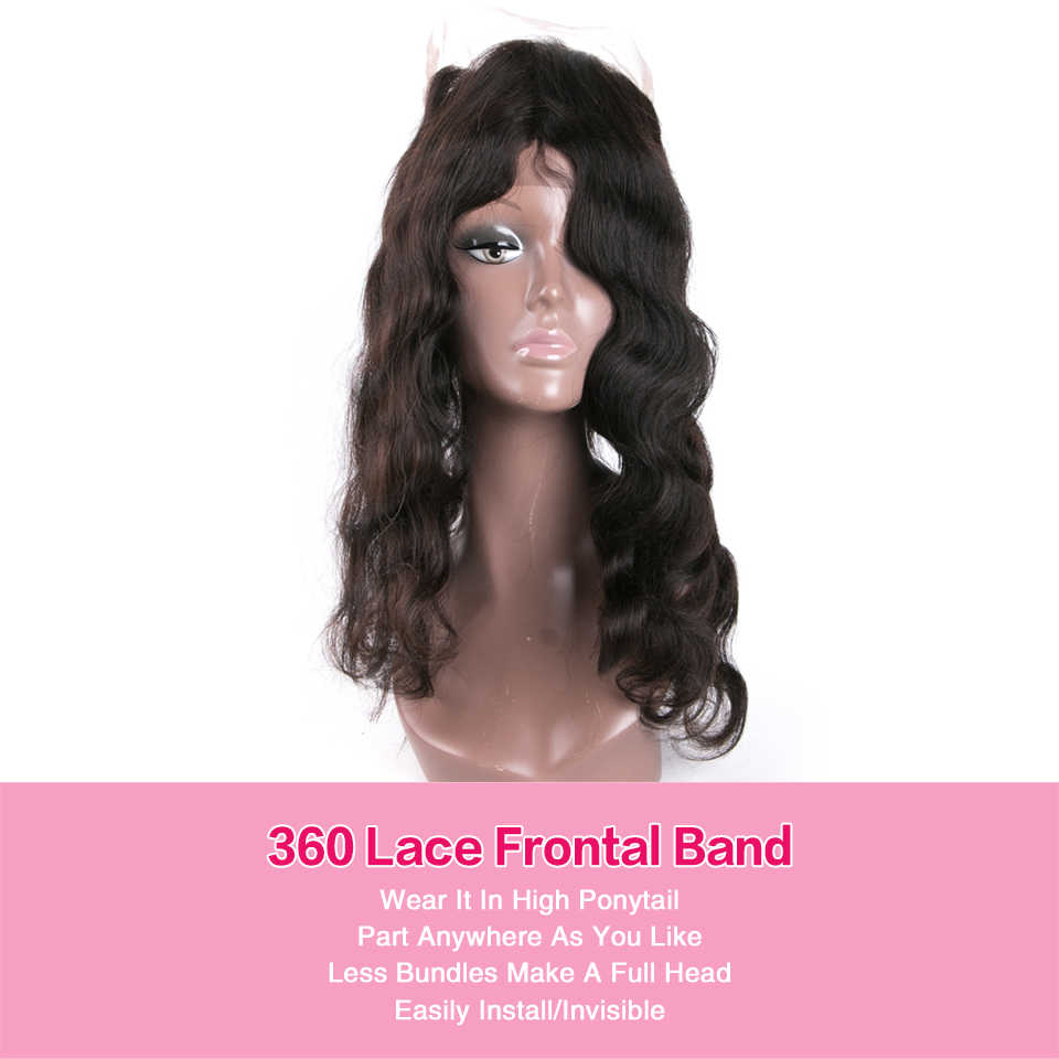 Beaufox Brazilian Body Wave 360 Lace Frontal Closure Remy Human Hair 360 Frontal Closure With Baby Hair