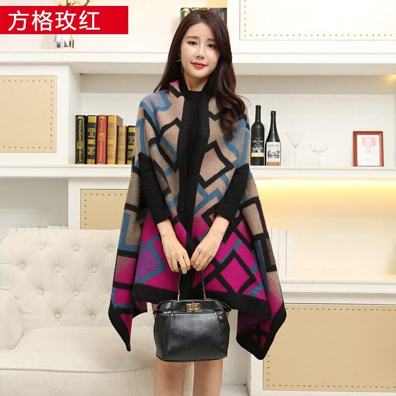Новинка, роскошный брендовый женский зимний шарф, теплая шаль, женское Клетчатое одеяло, вязанное кашемировое пончо, накидки для женщин, echarpe - Цвет: Grid mei red