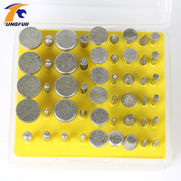 50pcs Diamond Coated Grinding Grinder Head Glass Burr For DREMEL Rotary Tools Shank 1 8