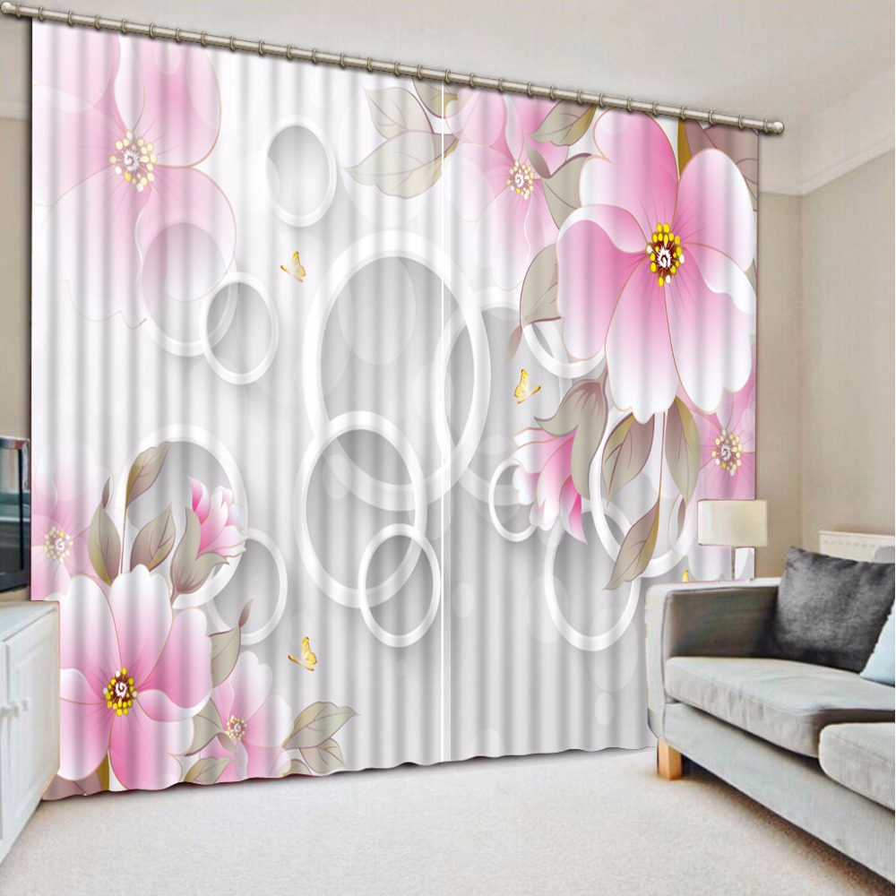 High Quality Costom 3D Curtain Flowers Round Curtain Living Room Blackout Shade Window Curtains Decorative Curtain