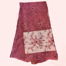 Heißer verkauf nylon tüll serie rosa mit blumen Afrikanischen tüll stoff Französisch tüll stoff für abendkleid QN8-9