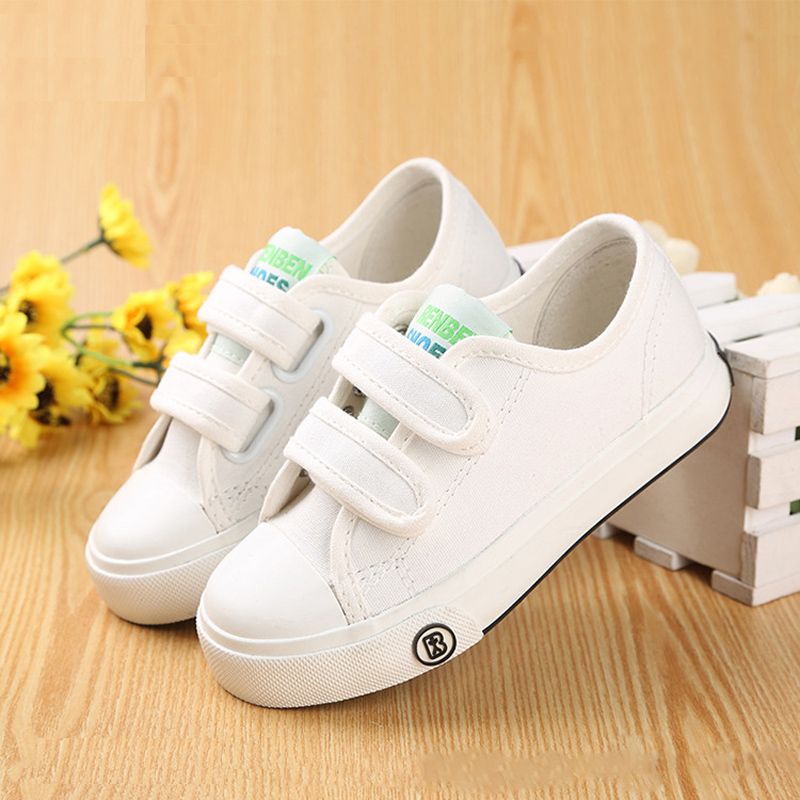 2016 new Korean children solid color canvas casual shoes boys girls white students shoes fashion sneakers for kids