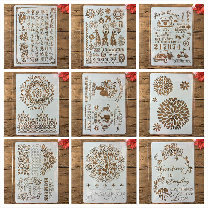 9 Types A4 Vintage Totem Car DIY Craft Layering Stencils Painting Scrapbooking Stamping Embossing Album Paper Card Template