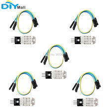 цена на 5pcs/lot DHT22 Digital Temperature Humidity Sensor AM2302 Detection Module + Cable Replace SHT11 SHT15 for Arduino