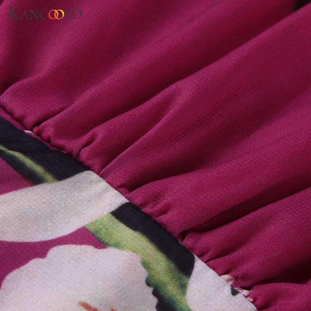 Kancoold Dress Wanita Fashion Bohemian Floral Dicetak V Gaun Leher Terbungkus Lengan Panjang Lipit Chiffon Baru Gaun Wanita 2019jul4