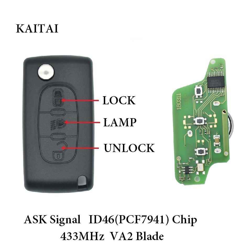 KAITAI 433 мГц спросить модель ID46 PCF 7941 чип удаленной машине ключ для peugeot 207 208 307 308 407 408 807 партнер с VA2 лезвие CE0523