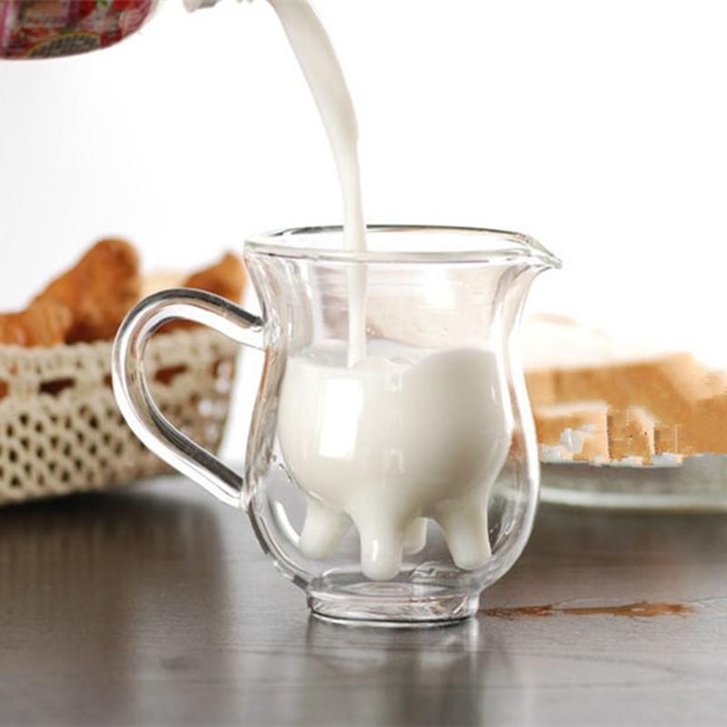 Creative Double Layer Glass Cow <font><b>Cups</b></font> Cute Milk Mug Coffee <font><b>Cup</b></font> Transparent Drinks <font><b>Cup</b></font> With <font><b>Handle</b></font> #<font><b>20</b></font>
