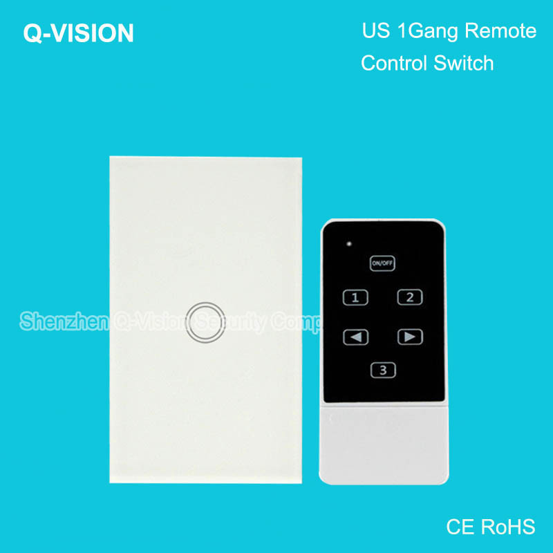 1-US Standard 1Gang,Wireless Remote Touch Wall Switch,Smart Home,Broadlink RM Pro Control Lamps,Crystal Tempered Glass AC110-250V