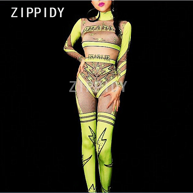 3 Colors Sexy Lightning Pattern Jumpsuit Rhinestones Leggings Stretch Mesh Nightclub Women's Show Outfit Female Singer Bodysuit-in Jumpsuits from Women's Clothing    1