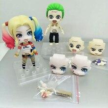 10cm anime figure Nendoroid Suicide Squad Joker 671 Figure 672 Harley Quinn PVC Action Figure Toys Brinquedos