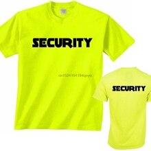 5e9ada6380812f Mens Neon Yellow Security T-Shirt ScreenPrinted Front Back Event Staff Tee  Shirt(China