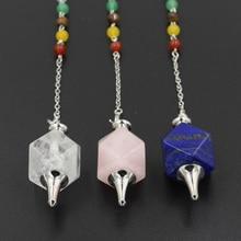7 Chakra Stone Beads Geometric Pendants Reiki Hypnosis Pendulum Chain Charms Healing Chakra Amulet Fashion Jewelry Wholesale цены онлайн