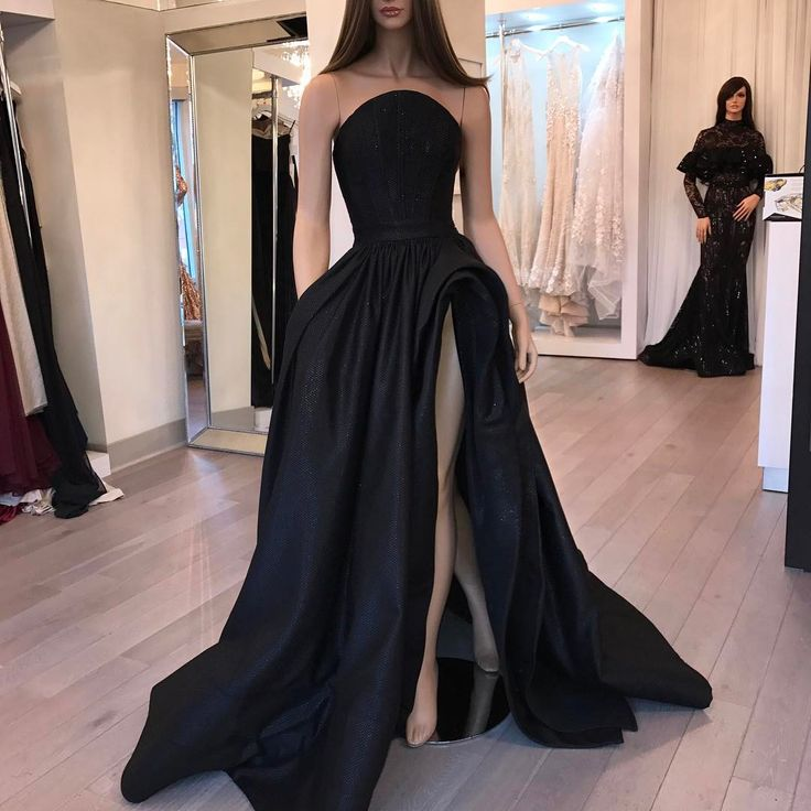 New Beautiful Black Long   Prom     Dress   2019 Sexy High Slit   Dresses   For Women Evening Party Wear Spaghetti Strap