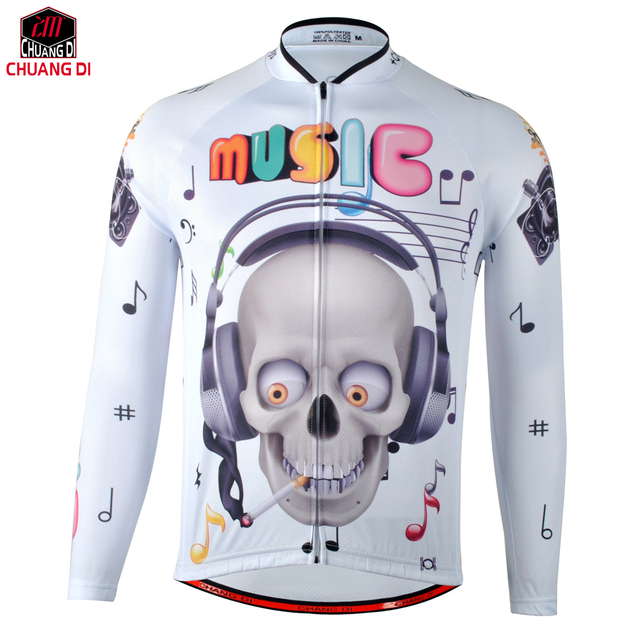 31135fd96 Music skeleton popular men cool long sleeve cycling jersey top bike bicycle  cycling clothing quick