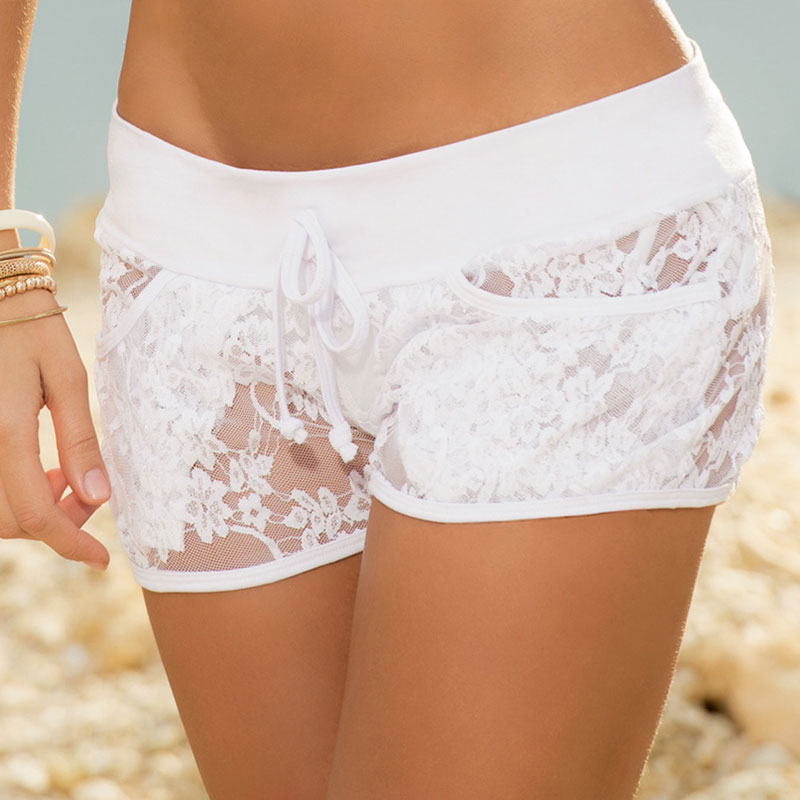 Women Lace   Short   Trousers Splicing   Shorts   Hollow Out Pocket Waist Drawstring Sexy Beach Party Transparent See-Through Summer Day