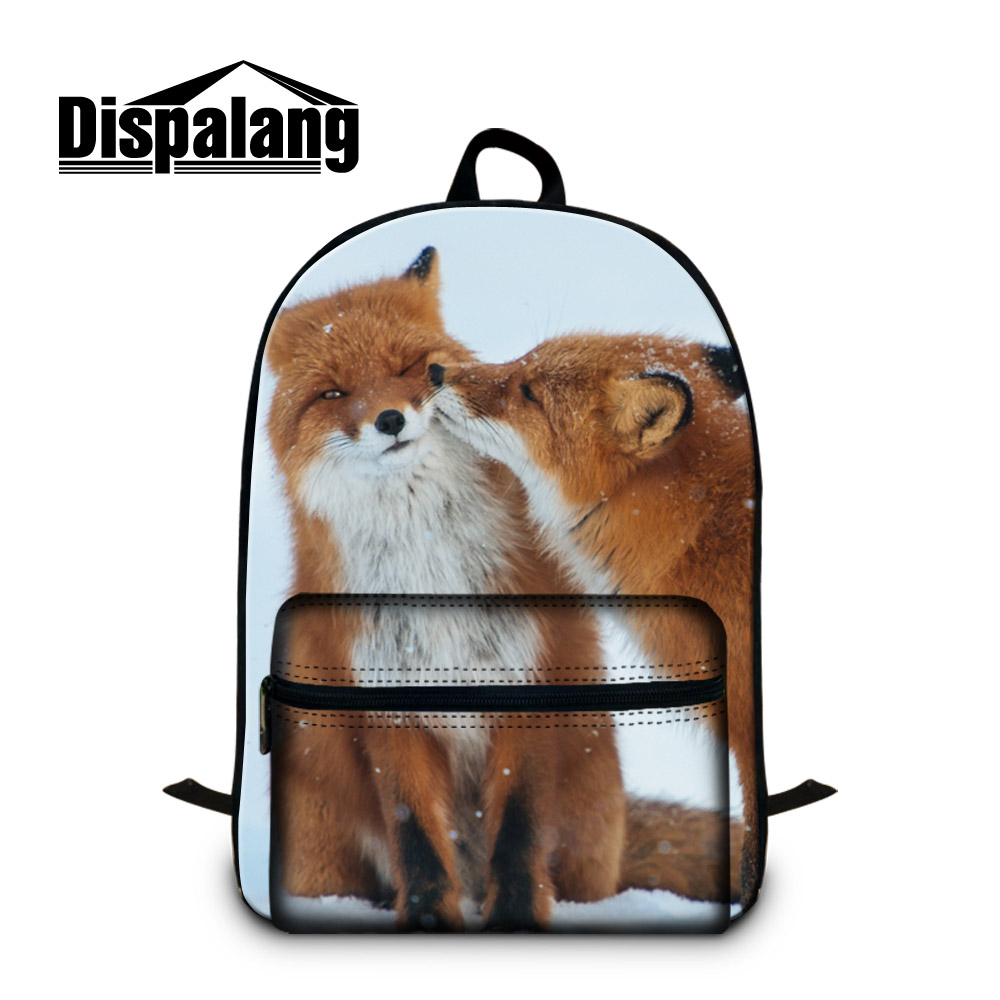 Dispalang Middle School Students Backpack Fox Design Bookbags Casual Day Pack for Teenager Guy Cool Animal Rucksack Girl Mochila