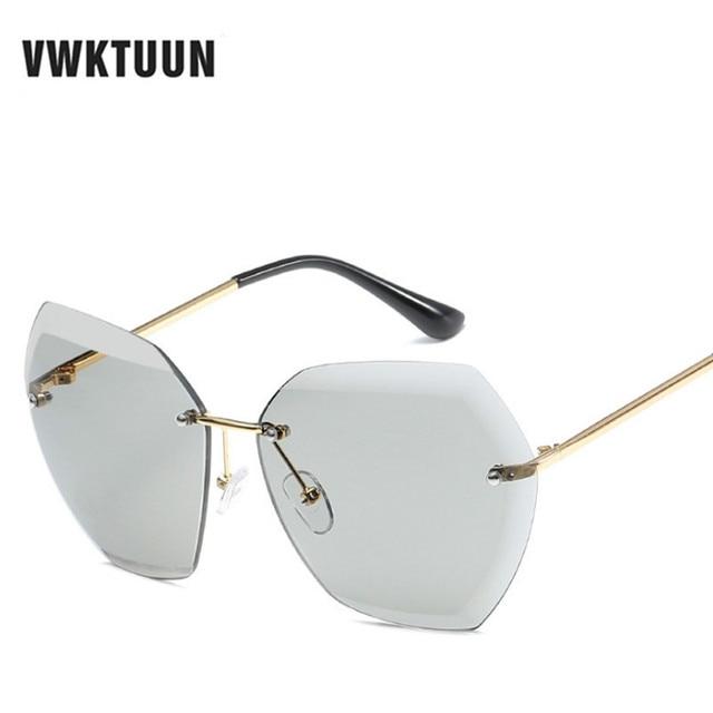 d7ea40d33415 VWKTUUN Ocean Lens Sunglasses Women Cutting Glasses Vintage Reimless Shades  Oversized Sun glasses For Women Eyewear Oculos Sport