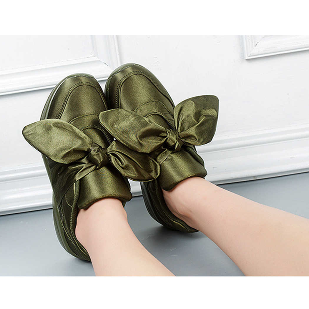 Woman Casual Shoes Bow Tie Ladies Flats For Women Silk Moccasins Sneakers  Female Round Toe Satin 4d7f89874