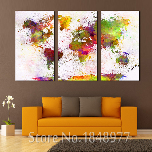 3 piece large modern home deoration abstract world map print 3 piece large modern home deoration abstract world map print colorful map painting on canvas wall gumiabroncs Images