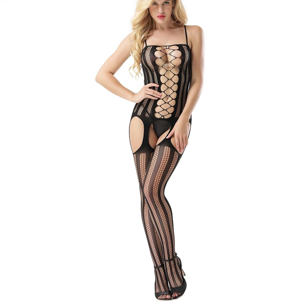4e82342a2f31 JAYCOSIN Women Hollow Sexy Lingerie Open Crotch Bodystocking Lady Elastic  Fishnet Perspective Bodysuit Underwear Pajama D30 Apr9