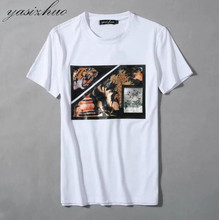 Summer New Casual Cotton Man T-Shirt Brand Men's Short Sleeve O-Neck Sequins Applique Printed Clothing Plus size M-XXXL