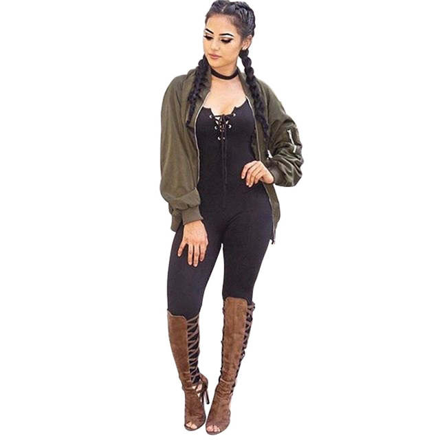 9534fadb7bde Online Shop Spaghetti Strap Lace Up Elegant Bodycon Jumpsuit Romper Women V  Neck Sleeveless Sportsuit Casual Black Long Overalls Bodysuits