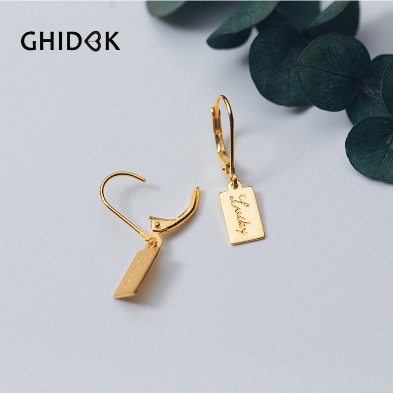 916a3def2f7f6 GHIDBK 925 Sterling Silver Tiny Square Helix Cartilage Earrings for Women  Small Hoop Earrings Letters Lucky Huggies Earrings