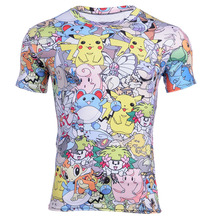 Drop Ship  Pokemon T Shirt Men Funny Pikachu Go Team Valor Team Mystic Instinct Pokeball T-Shirt Short Sleeve Comics Tee Men