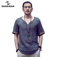 SHAO BAO Brand Clothing Cotton And Linen Short Sleeved T Shirt Men S 2017 Summer Thin