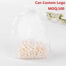 17x23cm 100 pçs/lote branco drawable organza jóias sacos embalagens para doces casamento sacos promocionais organza saquinho