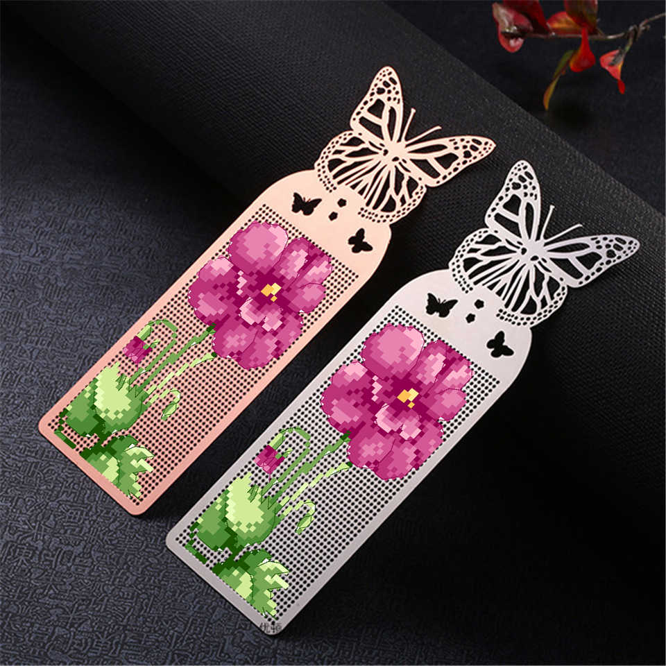 DIY Craft Stich Cross Stitch Bookmark Metal Silver Golden Needlework Embroidery Crafts Counted Cross-Stitching Kit Pansy