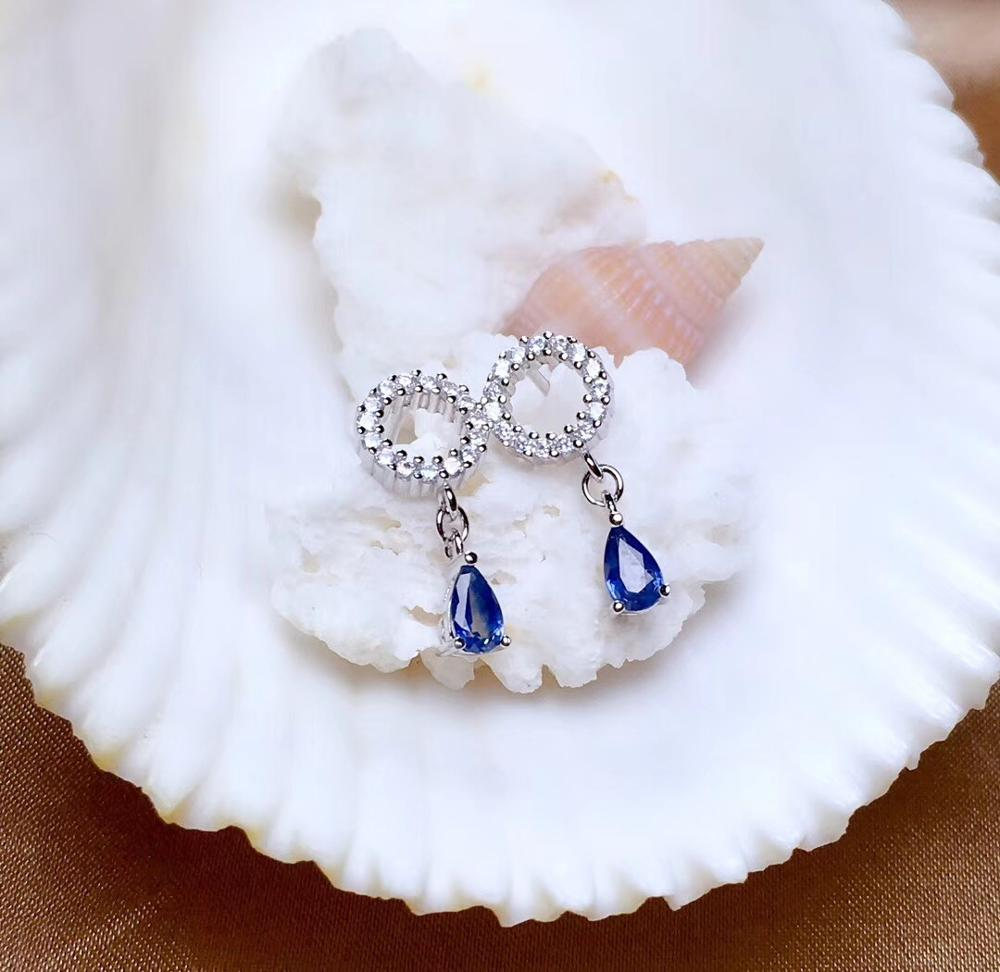 Latest Products, Natural Sapphire Earrings, Large Brand Design, 925 Sterling Silver, Certificate Of Accreditation