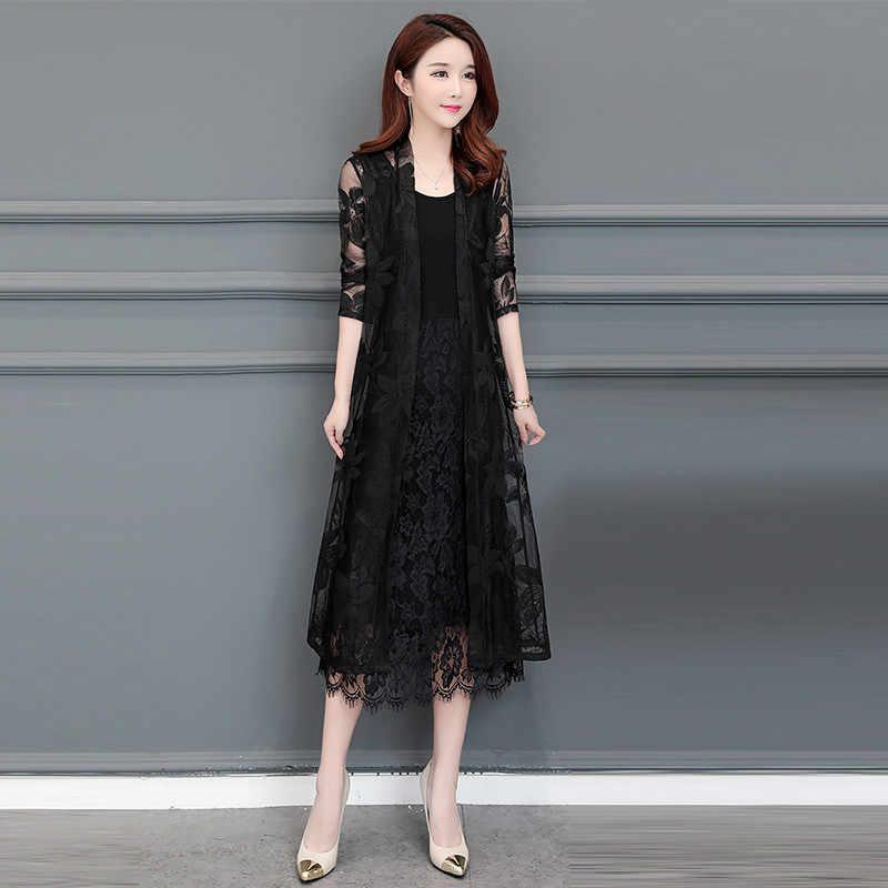 Летнее кружевное платье-кардиган Для женщин шаль выдалбливают Солнцезащитная одежда плюс Размеры Винтаж тонком каблуке Дамская обувь черная куртка длинное пальто B107