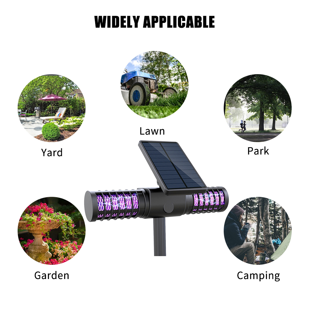 Solar Powered Bug Zapper Electronic LED Light Pest Insect Mosquito Killer Lamp Waterproof Fly Pests Catcher Lamp Outdoor Garden Lawn(China)