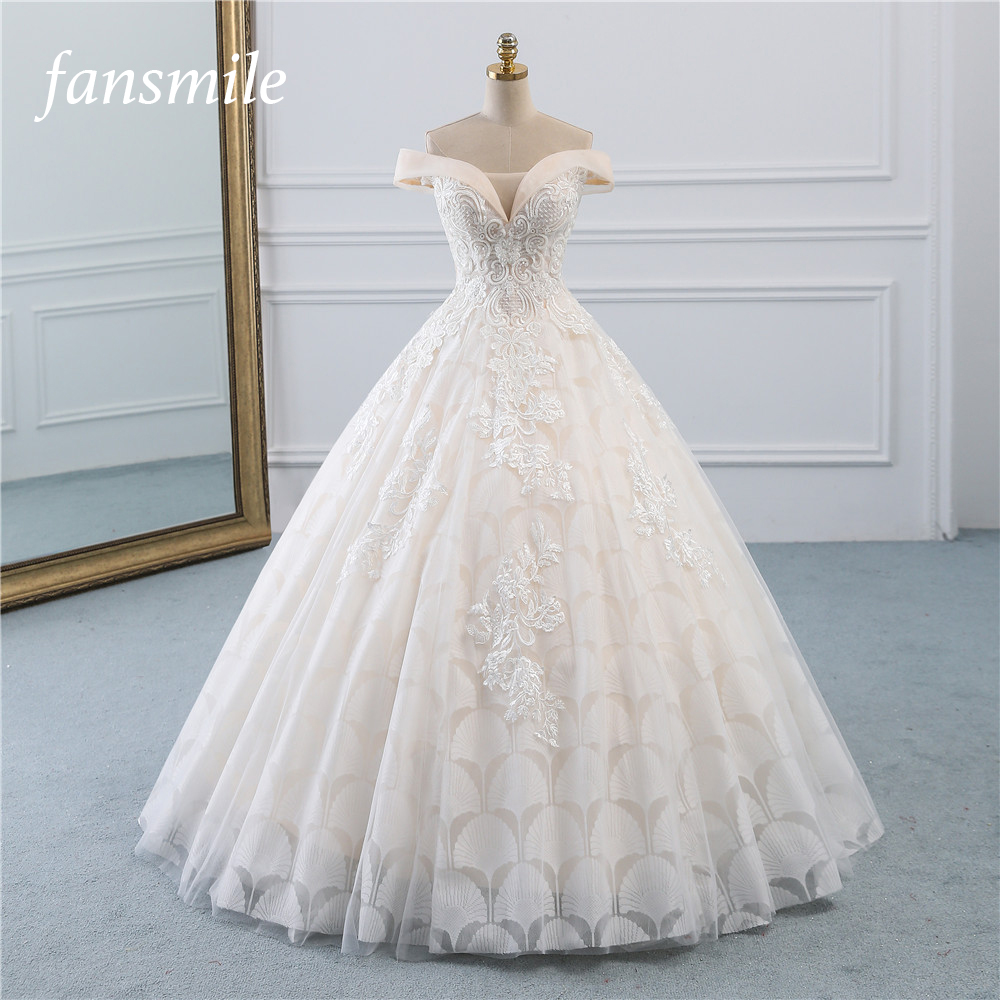Fansmile New Vestidos De Novia Vintage Princess Ball Gown Tulle Wedding Dress 2020 Quality Lace Wedding Bride Dress FSM-521F