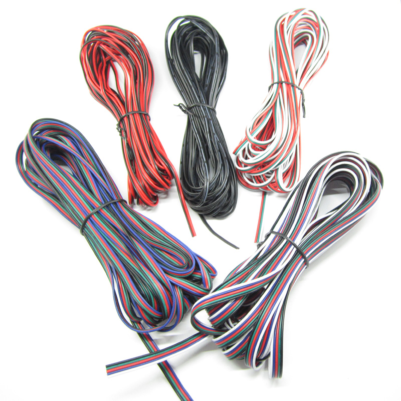 2Pin 3Pin 4Pin 5Pin 1M 5M 10M 18AWG 20AWG 22AWG Electric Extension Wire Cable For Single Color RGB RGBW LED Strip Connecting 5m 10m 20m 50m 2pin single 3pin 2811rgb 5pin rgbw extension 4pin rgb white rgb black wires connector cable for rgb led strip