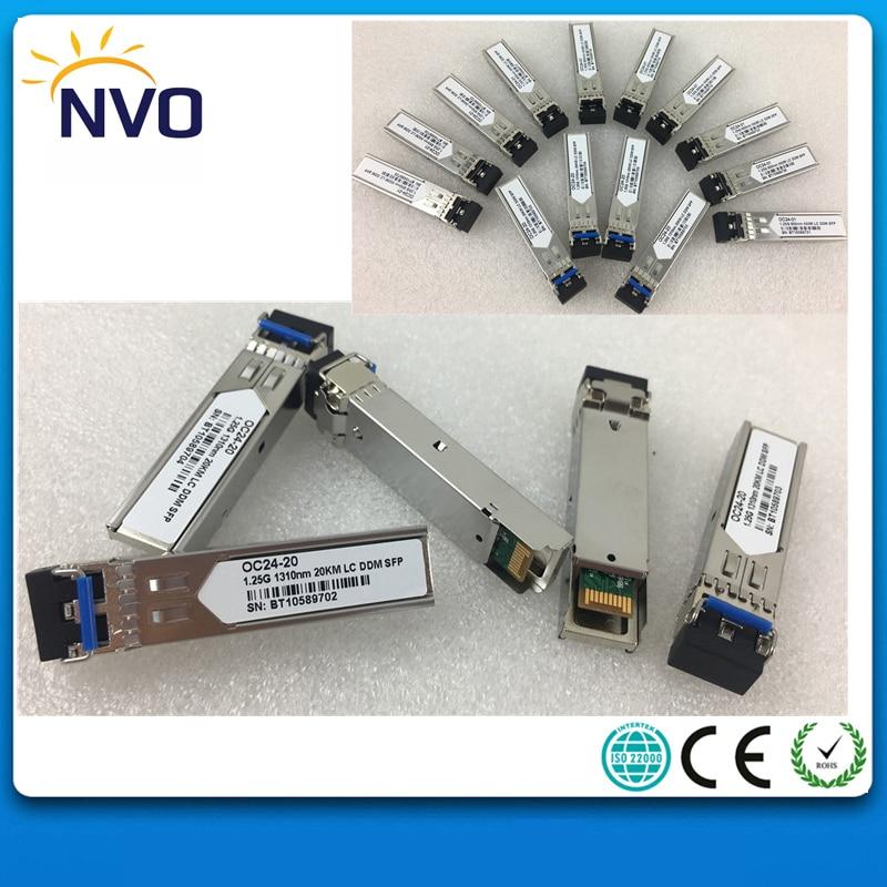 5Pcs/Lot,1.25Gb/s 20Km,1310nm,LC Duplex SFP Transceiver,+3.3V,Single-mode, Dual Fiber,DDM,LC Fiber Optic Module