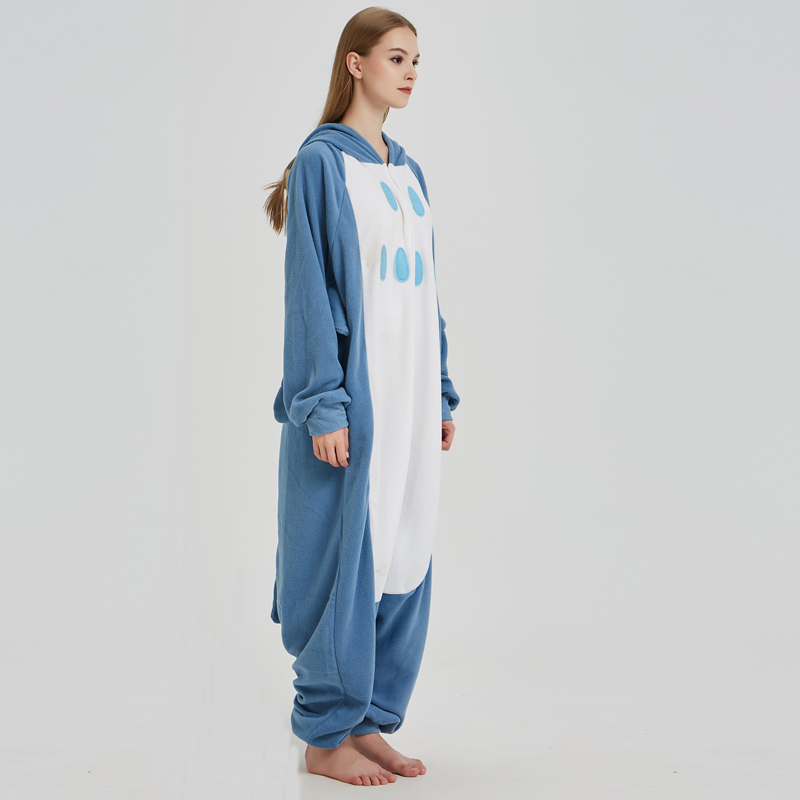 Polar Fleece Blue Owl Onesies For Women Pajamas Kigurumi Batwing Sleeve Long Sleepwear For Halloween Cosplay Parties For Adult (2)