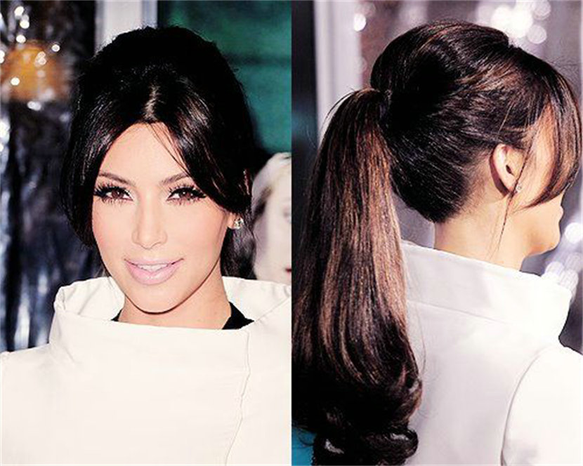Kim kardashian ponytail hairstyle long high clip in brown curly ...
