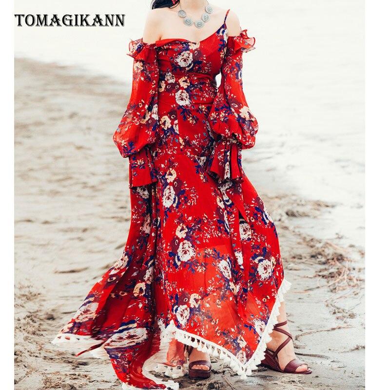 Boho Floral imprimer hors épaule Spaghetti sangle glands femmes robe 2019 Vitange élégant en mousseline de soie longues robes vacances robe rouge