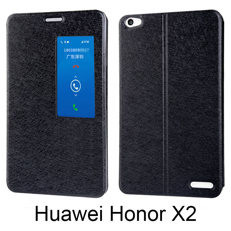 "For Huawei honor X2 MediaPad X2 Flip cover Pu skinn bakdeksel smart vindu Silk texture 7,0 ""Intelligent Sleep Cover Case"