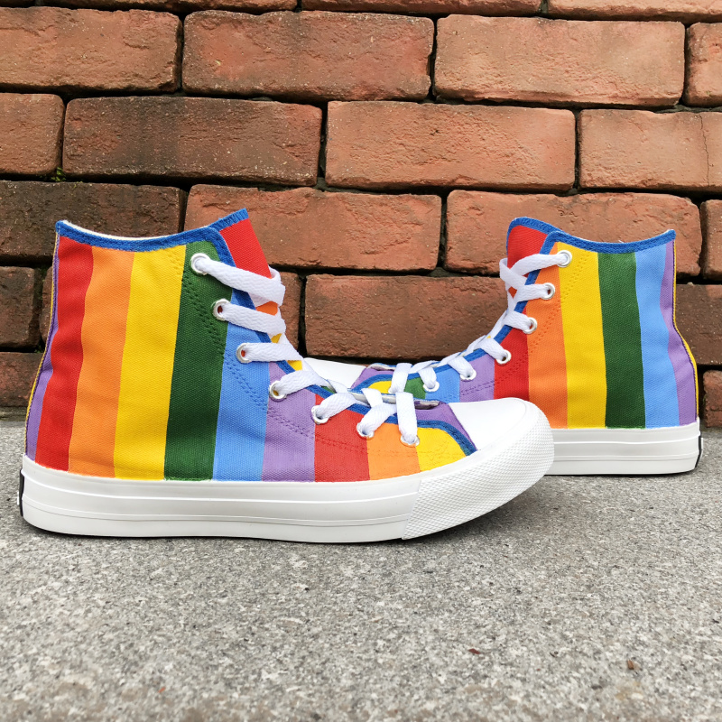 Wen Custom Design Rainbow Colorful Vertical Bar Hand Painted Shoes High Top Men Athletic Shoes Flats Women Canvas SneakerWen Custom Design Rainbow Colorful Vertical Bar Hand Painted Shoes High Top Men Athletic Shoes Flats Women Canvas Sneaker