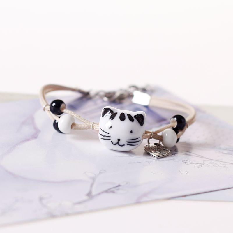 Qevila Bracelet Jewelry 2019 Fashion Hot Sale Cute Pottery Cat Bracelet New Charm Leather Bracelet for Women Men Jewelry Gift  (2)