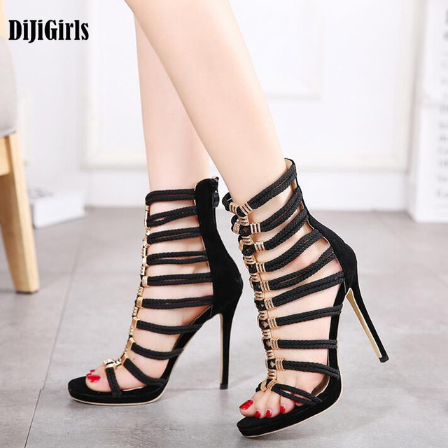 c0b3307f056a96 New Style Summer Sandals Metal Buckle Sexy Thin High Heels Fashion Ladies  Stiletto Gladiator Roman Cool Boots Shoes Size 35-40