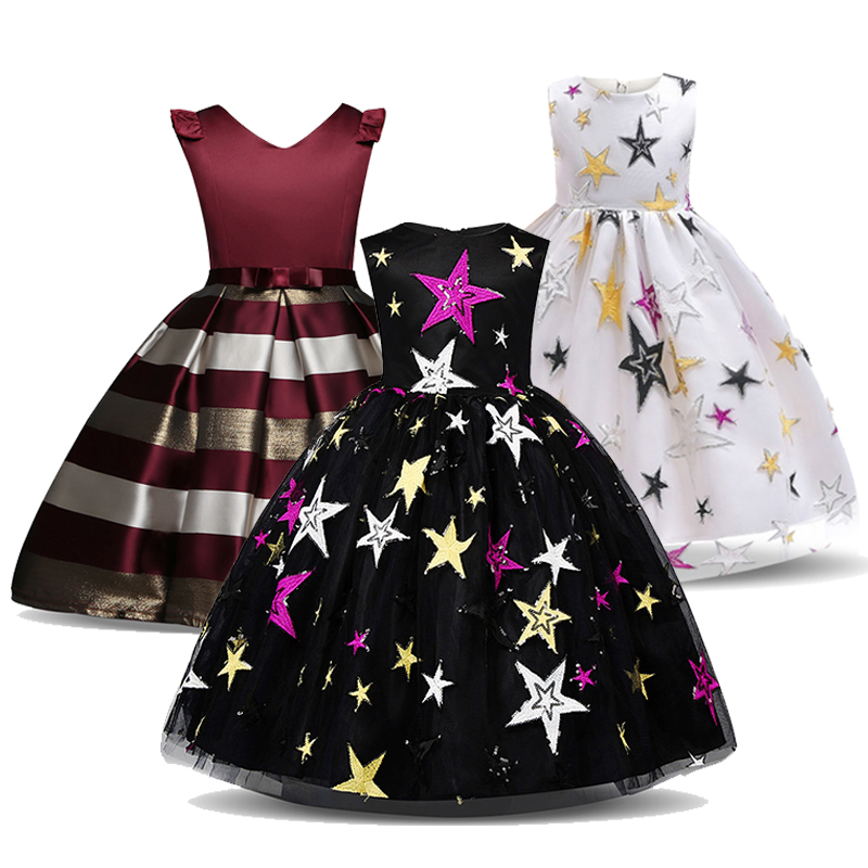 Fancy Striped Girls Dress Kids Summer Frocks For Girl Party Prom Gowns Children Wedding Birthday Outfits Vestidos Infantil 3-10T