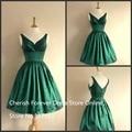 Estilo de la vendimia de Corta Longitud de La Rodilla Vestidos de Fiesta Verde Esmeralda del Tafetán V de nuevo vestido de Gala
